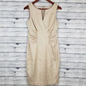 Kay Unger   Tan Zebra Striped Sheath Dress Sz 6